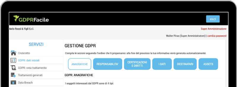 Schermata GDPRFacile Software Privacy GDPR